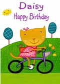 Happy Birthday - Girl Cat On A Bicycle - Girls Names
